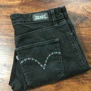 LEVI'S Mid Rise Skinny Leg Black Denim Jeans